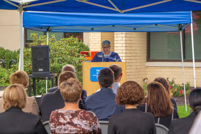 College  President Davie Jane Gilmour address the audience during the dedication.