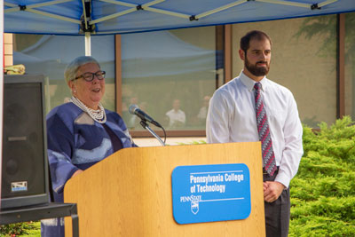 Penn College President Davie Jane Gilmour & aviation technology student Warren K. Bitterman